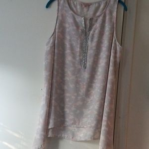 Juicy Couture XL grey &pink print sleeveless blous